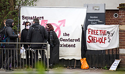 © Licensed to London News Pictures. 13/04/2018. London, UK. Campaigners erect banners outside Hendon Magistrates' Court in London where Transgender activist Tara Wolf (not pictured) is currently on trial for assaulting radical feminist Maria Maclachlan. Tara Wolf, 26, is accused of assault by beating on Maria MacLachlan, 61, during a demonstration at Speaker's Corner, Hyde Park on September 13, last year. Photo credit: Ben Cawthra/LNP