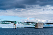 View of the Mackinac Bridge from a boat on Lake Huron; St. Ignace, Michigan, USA.