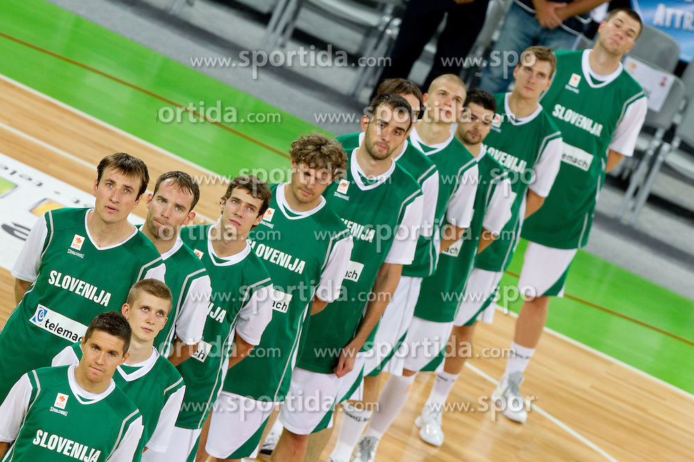 Jaka Lakovic, Luka Rupnik, Matjaz Smodis, Samo Udrih, Goran Dragic, Miha Zupan, Mirza Begic of SLovenia during friendly basketball match between National teams of Slovenia and Montenegro of Adecco Ex-Yu Cup 2011 as part of exhibition games before European Championship Lithuania 2011, on August 7, 2011, in Arena Stozice, Ljubljana, Slovenia. (Photo by Vid Ponikvar / Sportida)