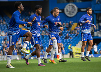 Football - 2016/2017 Premier League - Chelsea V Leicester.<br /> <br /> John Terry of Chelsea returns to the first team and warms up with the other substitutes at Stamford Bridge.<br /> <br /> COLORSPORT/DANIEL BEARHAM