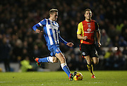 Brighton striker (on loan from Manchester United), James Wilson (21) misses a chance during the Sky Bet Championship match between Brighton and Hove Albion and Birmingham City at the American Express Community Stadium, Brighton and Hove, England on 28 November 2015.