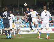Peter MacDonald beats Thomas O'Ware in the air - Greenock Morton v Dundee, SPFL Championship at Cappielow<br /> <br />  - &copy; David Young - www.davidyoungphoto.co.uk - email: davidyoungphoto@gmail.com
