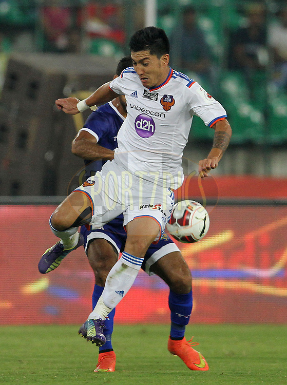 Haroon Fakhruddin of FC Goa on the attack during match 50 of the Hero Indian Super League between Chennaiyin FC and FC Goa held at the Jawaharlal Nehru Stadium, Chennai, India on the 5th December 2014.<br /> <br /> Photo by:  Vipin Pawar/ ISL/ SPORTZPICS