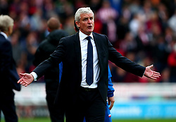 Stoke City manager Mark Hughes cuts a frustrated figure - Mandatory by-line: Robbie Stephenson/JMP - 19/08/2017 - FOOTBALL - Bet365 Stadium - Stoke-on-Trent, England - Stoke City v Arsenal - Premier League