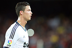 A dejected Cristiano Ronaldo leaves the pitch after the 3-2 defeat. Barcelona v Real Madrid, Supercopa first leg, Camp Nou, Barcelona, 23rd August 2012...Credit : Eoin Mundow/Cleva Media