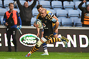 Wasps scrum half Dan Robson (9) breaks for the try line during the Gallagher Premiership Rugby match between Wasps and Bath Rugby at the Ricoh Arena, Coventry, England on 2 November 2019.