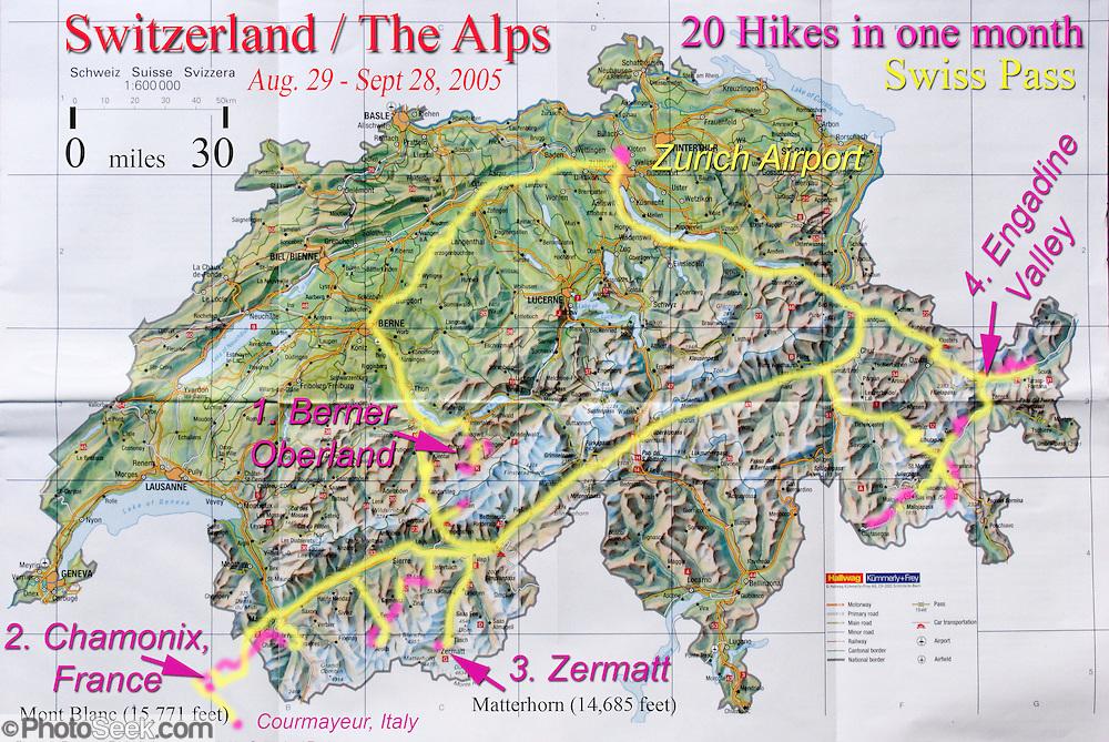 Switzerland travel map from Zurich to Berner Oberland Chamonix