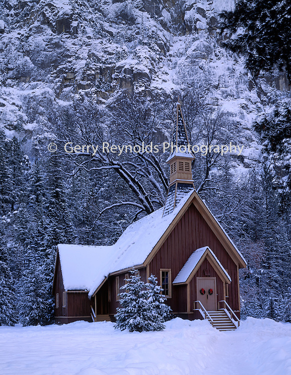 Yosemite Valley, Yosemite Valley Chapel, Valley Chapel, Chapel, Church, Religion, Religious, Christian, Winter, Snow, Yosemite National Park, California
