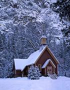 Yosemite Valley, Yosemite Valley Chapel, Valley Chapel, Chapel, Church, Religion, Religious, Christian, Winter, Snow, Yosemite National Park, California