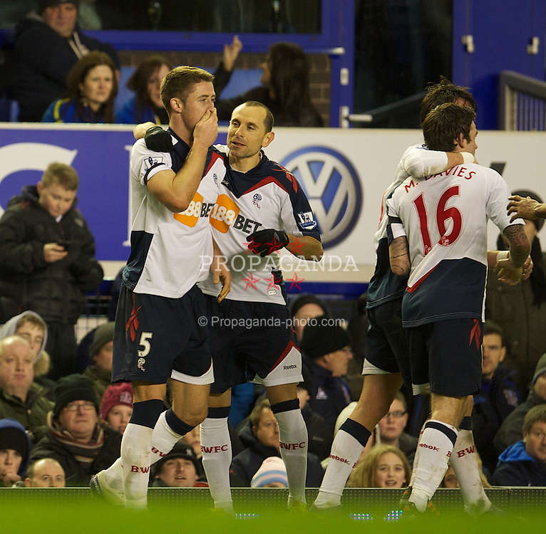 LIVERPOOL, ENGLAND - Wednesday, January 4, 2012: Bolton Wanderers' Gary Cahill celebrates scoring the second goal against Everton during the Premiership match at Goodison Park. (Pic by David Rawcliffe/Propaganda)