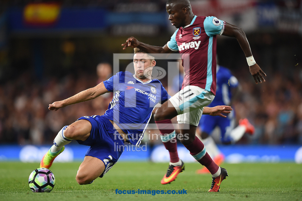 Gary Cahill of Chelsea and Enner Valencia of West Ham United during the Premier League match at Stamford Bridge, London<br /> Picture by Daniel Hambury/Focus Images Ltd +44 7813 022858<br /> 15/08/2016
