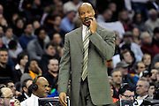 Feb. 11, 2011; Cleveland, OH, USA; Cleveland Cavaliers head coach Byron Scott scratches his head after a questionable call during the second quarter against the Los Angeles Clippers at Quicken Loans Arena. Mandatory Credit: Jason Miller-US PRESSWIRE