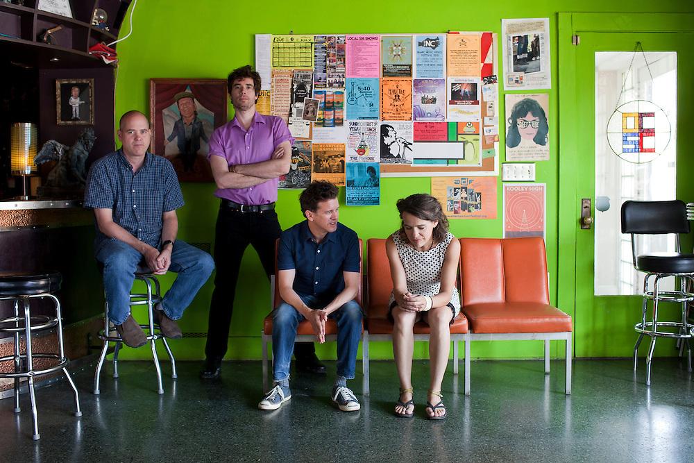 Superchunk; Jim Wilbur, Jon Wurster, Laura Ballance,   and Mac McCaughan at the Orange County Social Club in Carrboro, N.C.