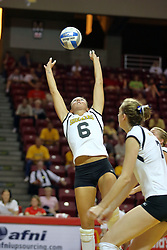 21 September 2007: Abby Harsh sets on to a striker behind her. The Wichita State Shockers bested the the Illinois State Redbirds on the floor of Doug Collins Court in Redbird Arena on the campus of Illinois State University in Normal Illinois taking the match in three games.