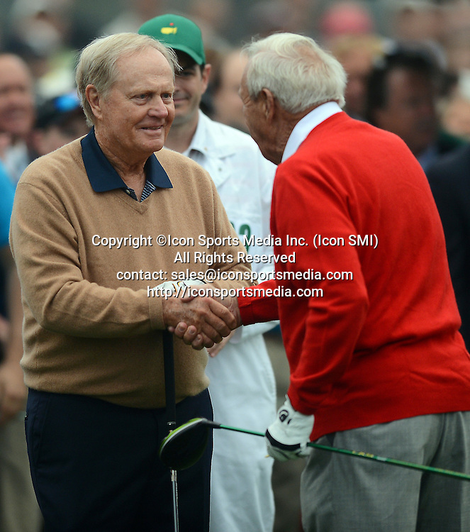 April 11, 2013 - Augusta, GA, USA - Honorary starter Jack Nicklaus, left, congratulates fellow starter Arnold Palmer following his drive from the first tee to begin the first round of the Masters Tournament at Augusta National Golf Club in Augusta, Georgia on Thursday, April 11, 2013