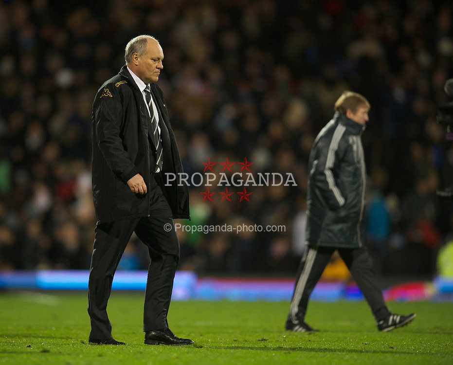 LONDON, ENGLAND - Monday, December 5, 2011: Fulham's manager Martin Jol during the Premiership match against Liverpool at Craven Cottage. (Pic by David Rawcliffe/Propaganda)