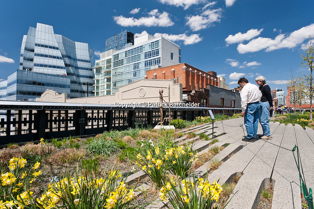 The High Line Park in the Chelsea neighborhood of Manhattan, New York City, with the IAC Building by architect Frank Gehry.