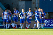 6th October 2018, Dens Park, Dundee, Scotland; Ladbrokes Premiership football, Dundee versus Kilmarnock; Eamonn Brophy of Kilmarnock is congratulated after scoring for 2-1 in the 53rd minute