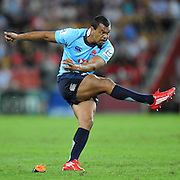 """Kurtley Beale takes a penalty goal for the Waratahs during action from the Super 15 Rugby Union match played between the Queensland Reds and the NSW Waratahs at Suncorp Stadium (Brisbane, Australia) on Saturday 23rd April 2011<br /> <br /> Conditions of Use : NO AGENTS ~ This image is intended for Editorial use only (news or commentary, print or electronic) - Required Images Credit """"Steven Hight - Aura Images"""""""