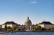 A long-shot of Copenhagen's Frederiks Kirke from across the water showing its full magnificent architecture.