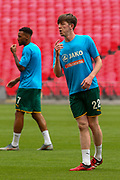 Notts County midfielder Tom Crawford (22) in the warm up during the Vanarama National League Promotion Final match between Harrogate Town and Notts County at Wembley Stadium, London, England on 2 August 2020.