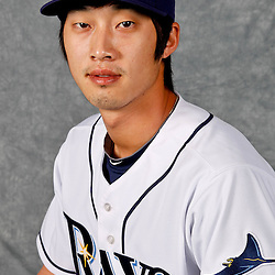 February 29, 2012; Port Charlotte, FL, USA; Tampa Bay Rays shortstop Hak-Ju Lee (66) poses for a portrait during photo day at Charlotte Sports Park.  Mandatory Credit: Derick E. Hingle-US PRESSWIRE