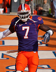 November 21, 2009; Clemson, SC, USA;  Clemson Tigers wide receiver Bryce McNeal (7) before the game against the Virginia Cavaliers at Memorial Stadium.  Clemson defeated Virginia 34-21.