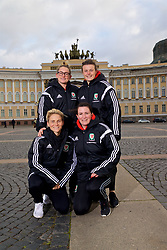 SAINT PETERSBURG, RUSSIA - Monday, October 23, 2017: Wales' [clockwise] Rachel Rowe, Hayley Ladd, Helen Ward and Jessica Fishlock pose for a portrait in Palace Square outside the Winter Palace ahead of the FIFA Women's World Cup 2019 Qualifying Group 1 match between Russia and Wales. (Pic by David Rawcliffe/Propaganda)