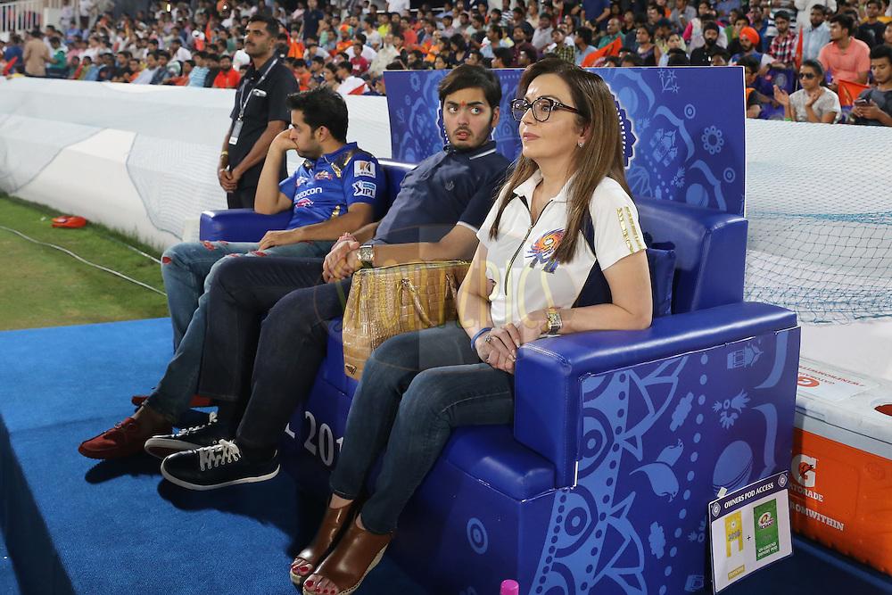 Mumbai Indians owner Nita Ambani during match 12 of the Vivo IPL 2016 (Indian Premier League ) between the Sunrisers Hyderabad and the Mumbai Indians held at the Rajiv Gandhi Intl. Cricket Stadium, Hyderabad on the 18th April 2016<br /> <br /> Photo by Faheem Hussain/ IPL/ SPORTZPICS
