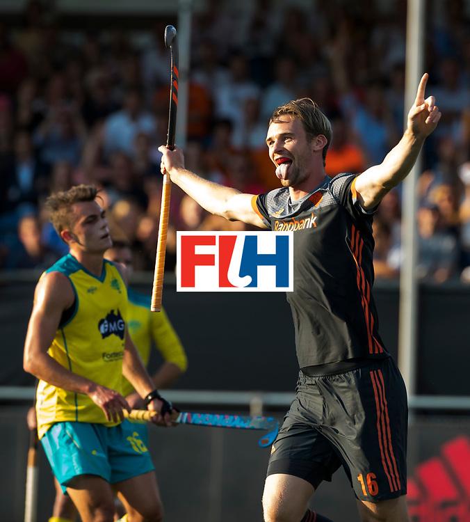 BREDA - Mirco Pruyser (Ned) heeft gescoord (1-0)   tijdens Nederland- Australie bij  de Hockey Champions Trophy. Het is zijn 50e interlanddoelpunt. COPYRIGHT KOEN SUYK