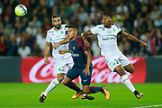 Paris Saint Germain's Brazilian defender Marquinhos falls during the French championship L1 football match between Paris Saint-Germain (PSG) and Saint-Etienne (ASSE), on August 25, 2017 at the Parc des Princes in Paris, France - Photo Benjamin Cremel / ProSportsImages / DPPI