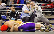 SCOTT MORGAN | ROCKFORD REGISTER STAR.Rams Wresting coaches Ray Navarro (left) and Mark Rizzo celebrate as Emmanuel Terrell (left) gets Hononegah Wrestling's Thomas Rollette on his back to win the 177-pound novice final Saturday, March 10, 2012, during the championships of the Illinois Kids Wrestling Federation State Tournament at the BMO Harris Bank Center in Rockford.