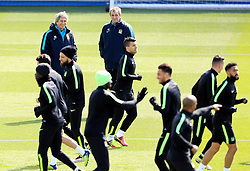Manchester City Manager, Manuel Pellegrini is all smiles as he watches the training session - Mandatory byline: Matt McNulty/JMP - 25/04/2016 - FOOTBALL - City Football Academy - Manchester, England - Manchester City v Real Madrid - UEFA Champions League Training Session