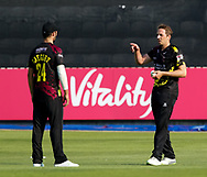 Somerset's Josh Davey talks to with team-mate  Lewis Gergory<br /> <br /> Photographer Simon King/Replay Images<br /> <br /> Vitality Blast T20 - Round 1 - Somerset v Gloucestershire - Friday 6th July 2018 - Cooper Associates County Ground - Taunton<br /> <br /> World Copyright © Replay Images . All rights reserved. info@replayimages.co.uk - http://replayimages.co.uk