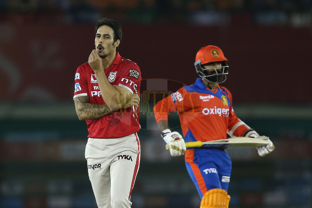 Mitchell Johnson of Kings XI Punjab reacts to Dinesh Karthik of Gujarat Lions boundary during match 3 of the Vivo Indian Premier League (IPL) 2016 between the Kings XI Punjab and the Gujarat Lions held at the IS Bindra Stadium, Mohali, India on the 11th April 2016<br /> <br /> Photo by Shaun Roy/ IPL/ SPORTZPICS