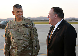 October 7, 2018 - Osan, South Korea - U.S. Secretary of State Mike Pompeo walks with U.S. Army Gen. Vincent K. Brooks, commander of United Nations Command/Combined Forces Command/United States Forces Korea on arrival from North Korea at Osan Air Base October 7, 2018 in Osan, South Korea. (Credit Image: © Sergio A. Gamboa via ZUMA Wire)