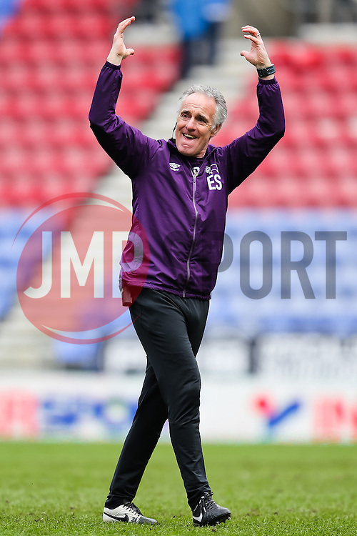 Derby County goalkeeper coach, Eric Steele cheers with the fans after the final whistle - Photo mandatory by-line: Matt McNulty/JMP - Mobile: 07966 386802 - 06/04/2015 - SPORT - Football - Wigan - DW Stadium - Wigan Athletic v Derby County - SkyBet Championship