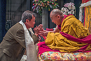 His Holiness the Dali Lama blessing Phong Doan at event in Boston, MA, USA.