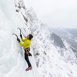 Pat Lindsay ice climbing Le Lotus Bleu in Kananaskis, Alberta, Canada