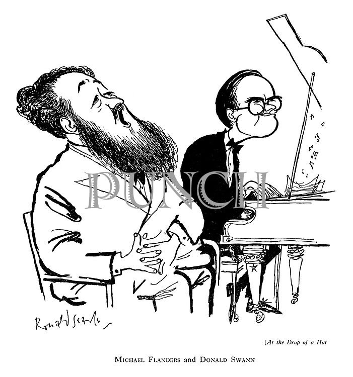 At the Drop of a Hat. Michael Flanders and Donald Swann (cartoon showing musicians singing and playing at a show)