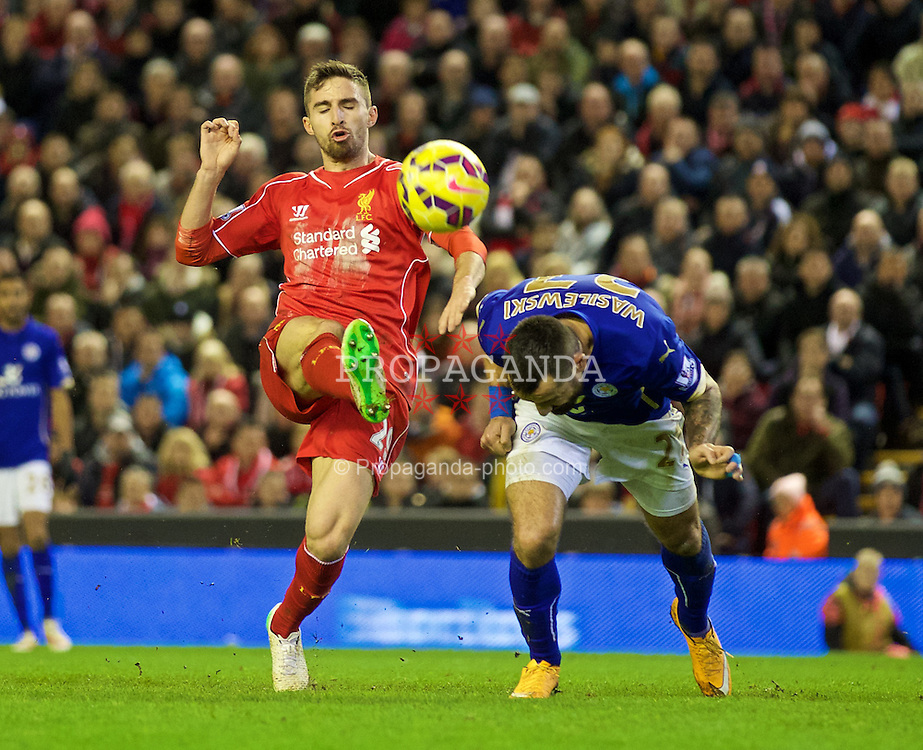 LIVERPOOL, ENGLAND - Thursday, New Year's Day, January 1, 2015: Liverpool's Fabio Borini in action against Leicester City during the Premier League match at Anfield. (Pic by David Rawcliffe/Propaganda)