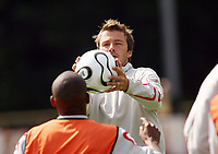 Photo: Chris Ratcliffe.<br />England training session. 06/06/2006.<br />David Beckham in England's warm up.