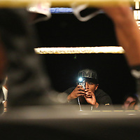 Boxer and promoter Floyd Mayweather takes a photo with his phoneduring Showtime Televisions ShoBox:The Next Generation boxing match at the Event Center at Turning Stone Resort Casino on Friday, February 28, 2014 in Verona, New York.  (AP Photo/Alex Menendez)
