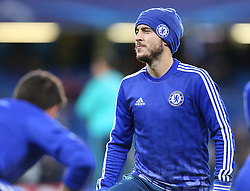 Eden Hazard of Chelsea warms up ahead of the match - Mandatory byline: Paul Terry/JMP - 09/12/2015 - Football - Stamford Bridge - London, England - Chelsea v FC Porto - Champions League - Group G