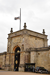 © Licensed to London News Pictures. 20/10/14. BLENHEIM PALACE, OXFORDSHIRE, UK. Flag flies at half mast over Blenheim Palace to make the death of the 11th Duke of Marlborough. Photo credit : MARK HEMSWORTH/LNP