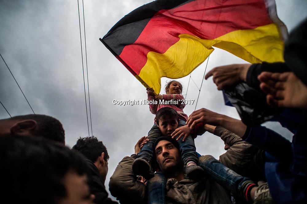 Idomeni 04-03-2016 Greek-Macedonian border, refugee camp of Idomeni; Protest in the camp