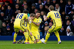 Christian Eriksen of Tottenham Hotspur (2L) celebrates with Ryan Mason, Kyle Walker and Harry Kane after scoring a goal from a free kick to make it 0-1 - Photo mandatory by-line: Rogan Thomson/JMP - 07966 386802 - 31/01/2015 - SPORT - FOOTBALL - West Bromwich, England - The Hawthorns - West Bromwich Albion v Tottenham Hotspur - Barclays Premier League.