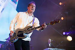 © Licensed to London News Pictures . 09/08/2015 . Siddington , UK . ANDY MCCLUSKEY (l) and PAUL HUMPHREYS of OMD ( Orchestral Manoeuvres in the Dark ) performing . The Rewind Festival of 1980s music , fashion and culture at Capesthorne Hall in Macclesfield . Photo credit: Joel Goodman/LNP