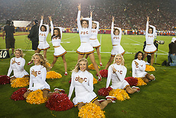 September 11, 2010; Los Angeles, CA, USA;  The Southern California Trojans cheerleaders perform during the second quarter against the Virginia Cavaliers at the Los Angeles Memorial Coliseum.