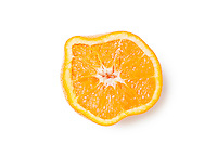 Cross section of a squeezed orange slice over white background
